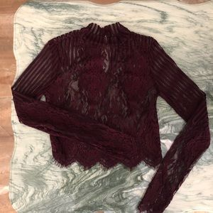 FOREVER21 Maroon Lace Top